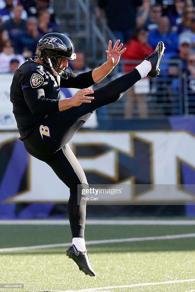 Punter <a gi-track='captionPersonalityLinkClicked' href=/galleries/search?phrase=Sam+Koch&family=editorial&specificpeople=2106602 ng-click='$event.stopPropagation()'>Sam Koch</a> #4 of the Baltimore Ravens kicks against the Cleveland Browns at M&T Bank Stadium on October 11, 2015 in Baltimore, Maryland.