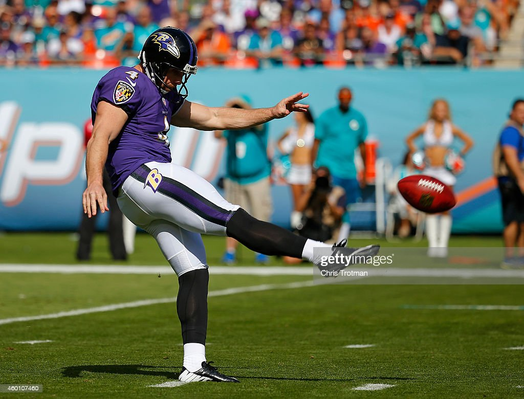 Punter <a gi-track='captionPersonalityLinkClicked' href=/galleries/search?phrase=Sam+Koch&family=editorial&specificpeople=2106602 ng-click='$event.stopPropagation()'>Sam Koch</a> #4 of the Baltimore Ravens kicks against the Miami Dolphins in the first quarter during a game at Sun Life Stadium on December 7, 2014 in Miami Gardens, Florida.