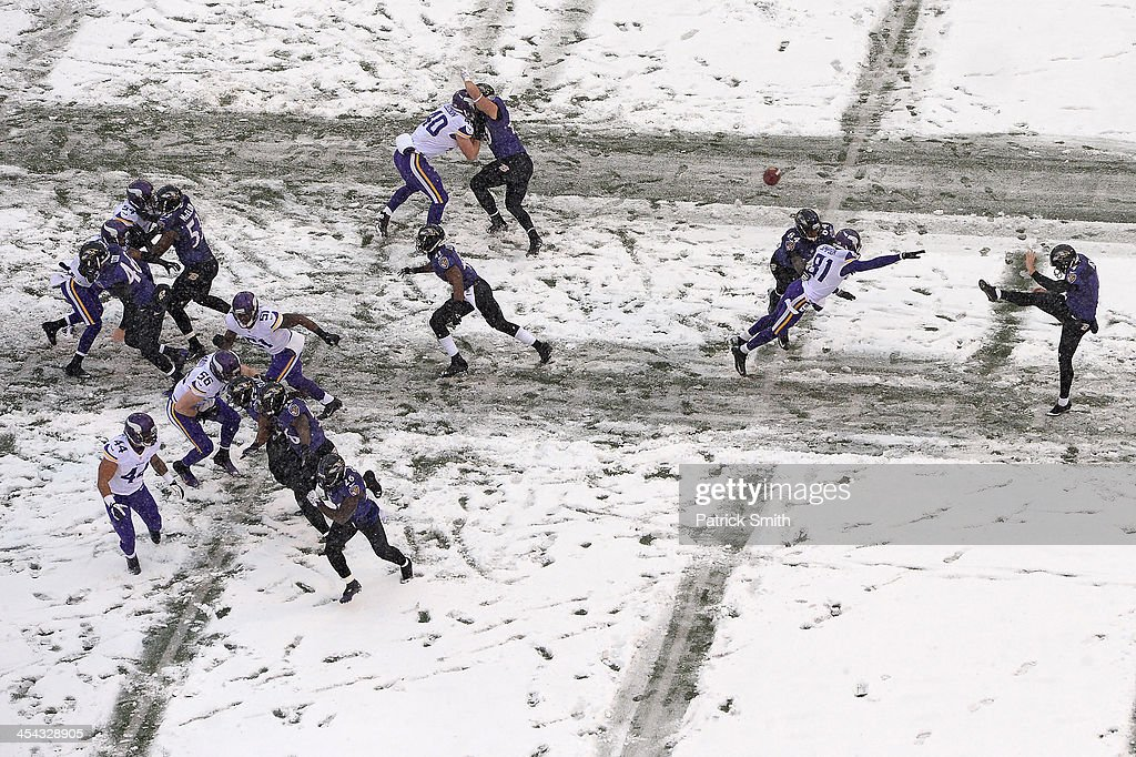 Punter <a gi-track='captionPersonalityLinkClicked' href=/galleries/search?phrase=Sam+Koch&family=editorial&specificpeople=2106602 ng-click='$event.stopPropagation()'>Sam Koch</a> #4 of the Baltimore Ravens kicks the ball away to the Minnesota Vikings in the second quarter at M&T Bank Stadium on December 8, 2013 in Baltimore, Maryland. The Baltimore Ravens won, 29-26.
