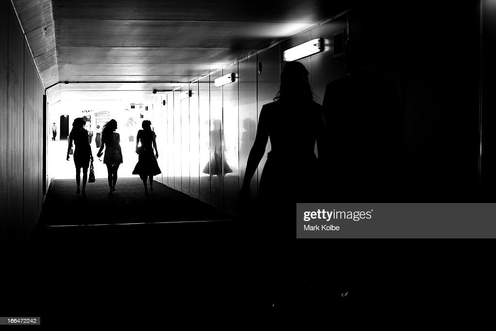 Punters arrive for the Australian Derby Day at Royal Randwick Racecourse on April 13, 2013 in Sydney, Australia.