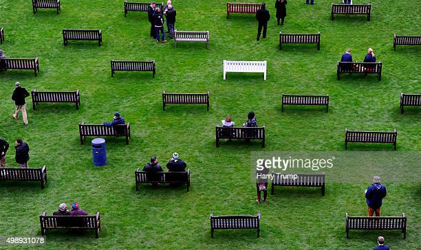 Punters take their seats at Newbury Racecourse on November 27 2015 in Newbury England