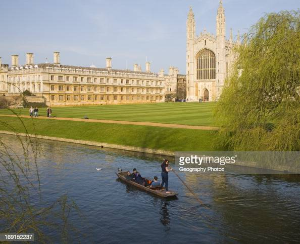 Punting on the river Cam King's College Cambridge university Cambridgeshire England