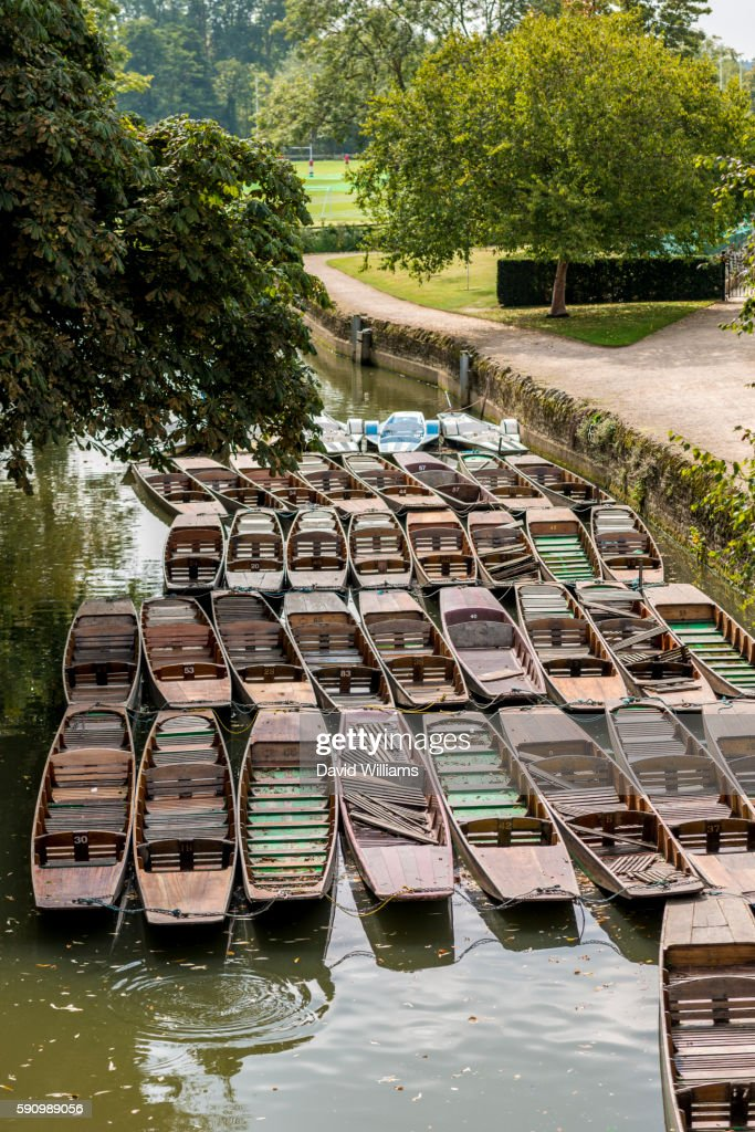 Punts on the River Cherwell, Oxford. Punting is a famous Oxford University activity enjoyed by stude