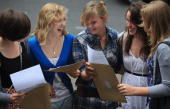 Pupil from Hayesfield Sixth Form Lily Byham celebrates her three A grades at Alevel wih her friends Martha Hutchingson Lily Byham Sarah Mann Bethan...