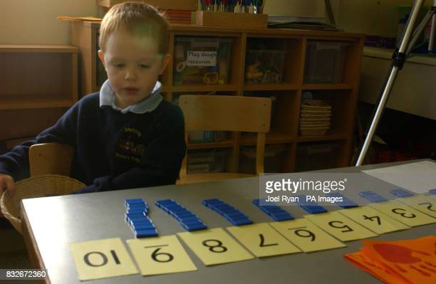 A pupil pictured on in class 1 at Stebbing Primary School Nr Dunmow in Essex on the day the school celebrated 100 years of the Montessori teaching...