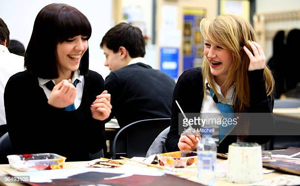 Pupils at Williamwood High School attend an art class on February 5 2010 in Glasgow Scotland As the UK gears up for one of the most hotly contested...