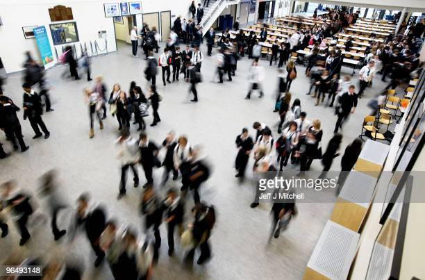 Pupils at Williamwood High School make their way to classes on February 5 2010 in Glasgow ScotlandFebruary 5 2010 in Glasgow Scotland As the UK gears...