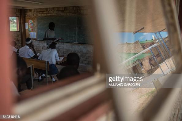 TOPSHOT Pupils attend class on February 13 2017 in one of the only two schools of the desert town of Pomfret close to the Botswana border on the edge...