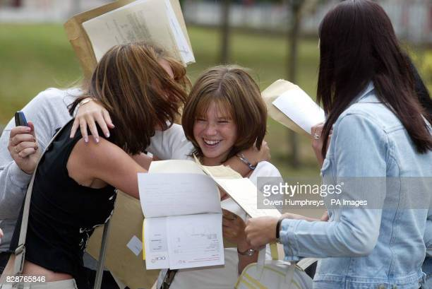 Pupils celebrate their GCSE results at Emmanuel College in Gateshead Tyne and Wear where 27 pupils achieved a total of 300 A* and A grade GCSEs...