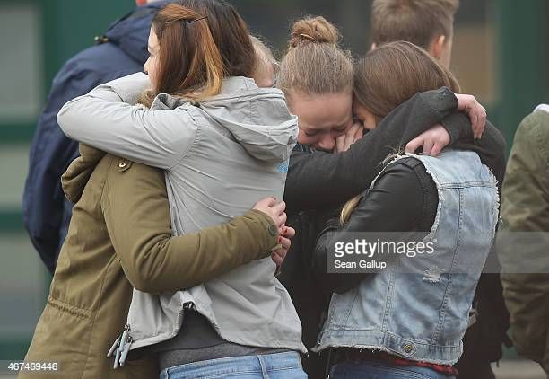 Pupils gather at the JosephKoenigGymnasium high school to pay tribute to 16 students and two teachers from the school who were on Germanwings flight...