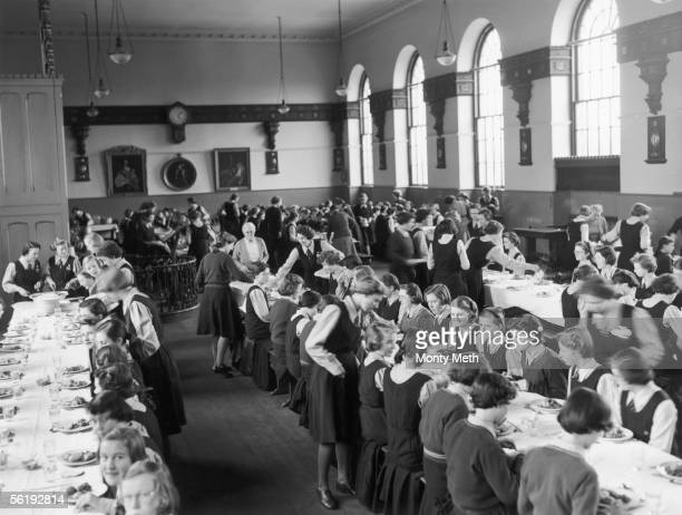 Pupils in the dining hall of Christ's Hospital girls' school in Hertford 3rd March 1953