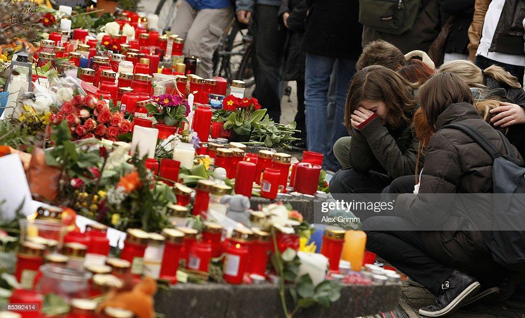 Pupils mourn in front of the AlbertvilleSchool Centre on March 12 2009 in Winnenden near Stuttgart Germany 17 year old Tim Kretschmer opened fire...