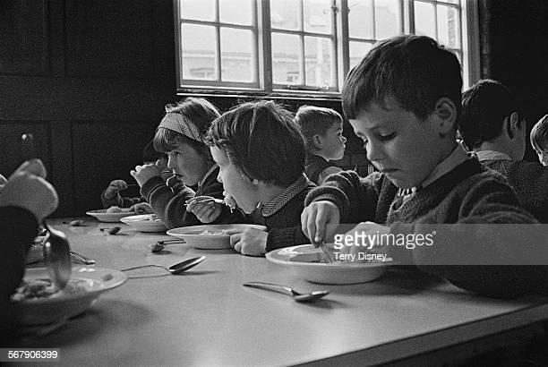 Pupils of St John's C Of E Primary School eating lunch during a teacher strike Kilburn London 13th September 1967
