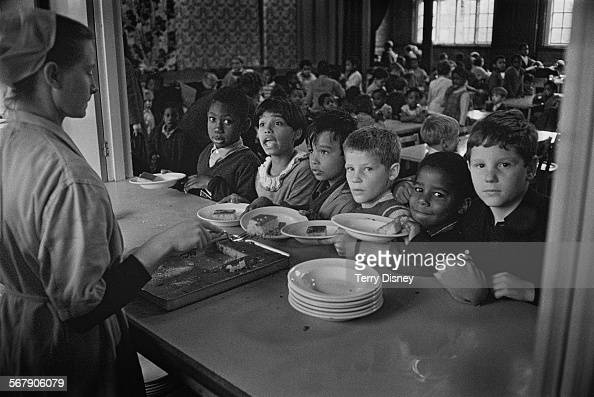 Pupils of St John's C Of E Primary School waiting for lunch during a teacher strike Kilburn London 13th September 1967