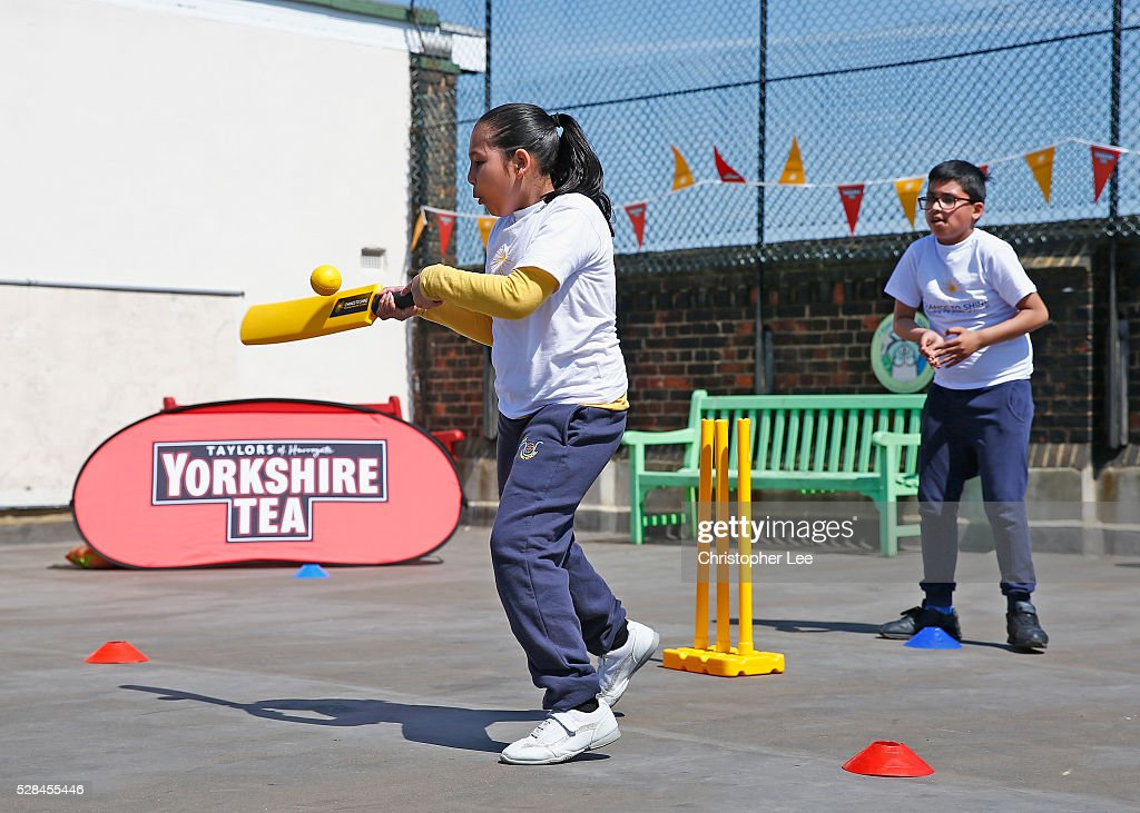 Pupils of the Hague school play a game of cricket during the Launch of the Yorkshire Tea Cricket Commentator Search at The Hague Primary School on May 5, 2016 in London, England.