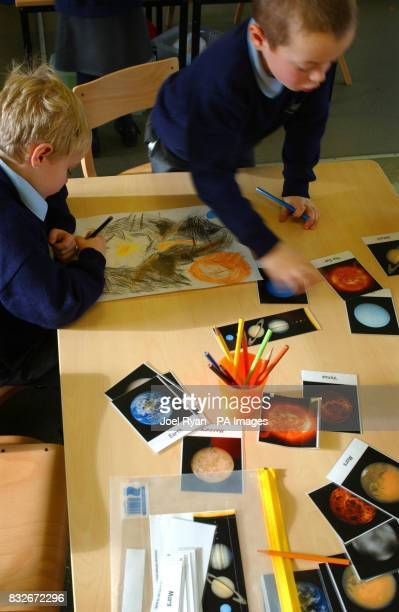 Pupils pictured on in class 1 at Stebbing Primary School Nr Dunmow in Essex on the day the school celebrated 100 years of the Montessori teaching...