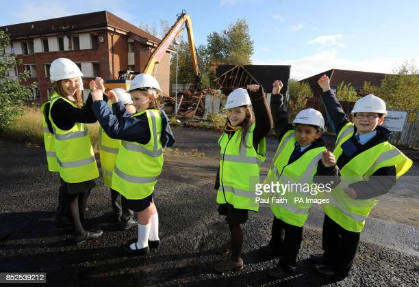 Pupils representing six schools watch the start of demolition at the former Army base at Lisanelly in Omagh for the commencement of development at...