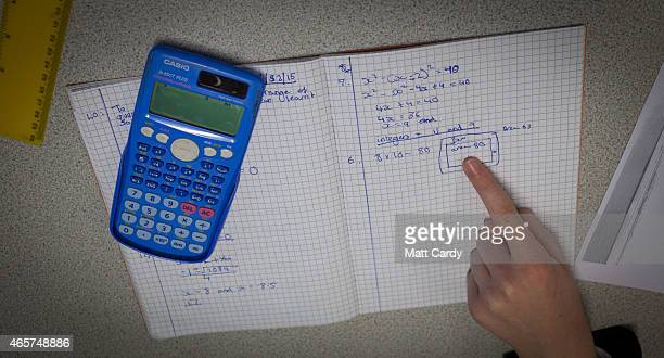 Pupils take part in a maths lesson at the Ridings Federation Winterbourne International Academy in Winterbourne near Bristol on February 26 2015 in...