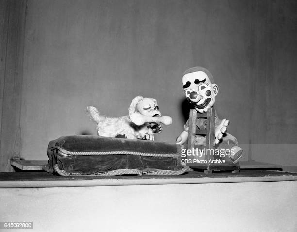 Puppet characters Lucky Pup and Jolo the clown from the CBS television children's puppet show Lucky Pup Image Dated September 1 1948 New York NY