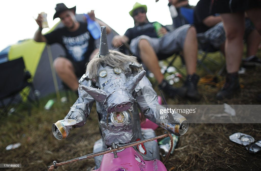 A puppet made of trash is seen during the 24th heavy metal Wacken Open Air (WOA) Festival 2013 in Wacken, northern Germany on August 1, 2013. With some 80,000 festival visitors it attracts all kinds of metal music fans, such as fans of black metal, death metal, power metal, thrash metal, gothic metal, folk metal and even metalcore, nu metal and hard rock from around the world.