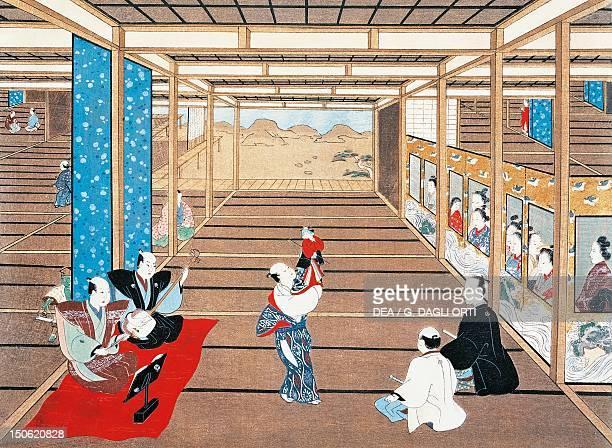 Puppet show by Torii Kiyomasu I ukiyoe style painting Japan Japanese Civilisation 17th18th century