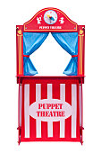 Puppet theater isolated on white