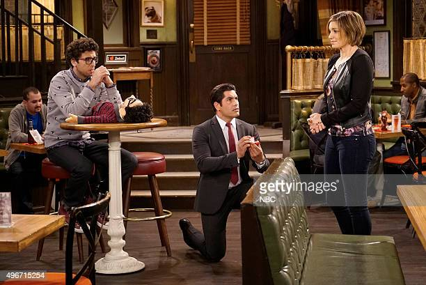 UNDATEABLE 'A Puppet Walks Into A Bar' Episode 306B Pictured Rick Glassman as Burski Mike Catherwood as Mike Bianca Kajlich as Leslie
