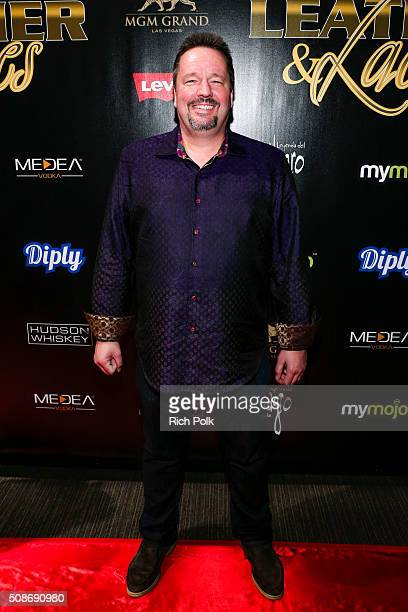 Puppeteer Terry Fator arrives at the 13th annual 'Leather Laces' Mega Party Super Bowl 50 at Metreon on February 5 2016 in San Francisco California