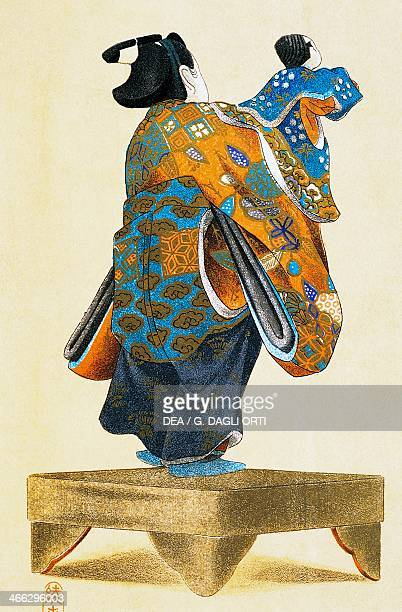 Puppeteer with puppet seen from behind ukiyoe art print reproduction from a woodcut Japanese civilisation Edo period 17th19th century