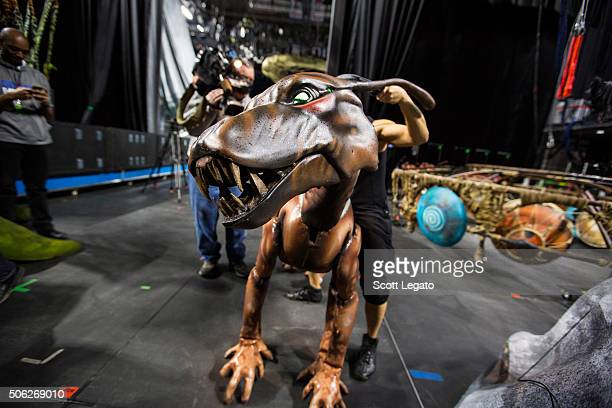 Puppeteer works the Viperwolf during a behind the scenes tour of TORUK The First Flight inspired by James Cameron's Avatar at The Palace of Auburn...