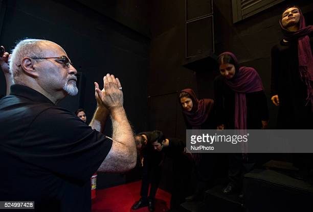 Puppeteers bow to audience and director after Iranian traditional puppet opera 'Leili and Majnoun' directed by Bahrouz Gharibpour showed on 15th...