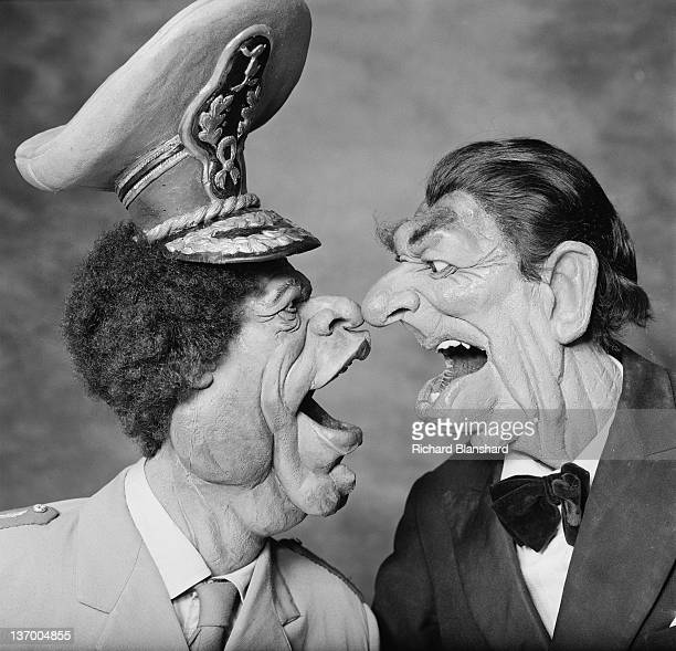 Puppets of Libyan leader Muammar Gaddafi and US President Ronald Reagan from the British satirical puppet show 'Spitting Image' circa 1986 Probably...