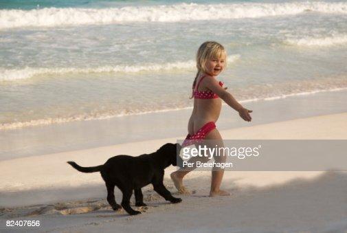 Puppy pulling down girl's swimsuit bottoms : Bildbanksbilder