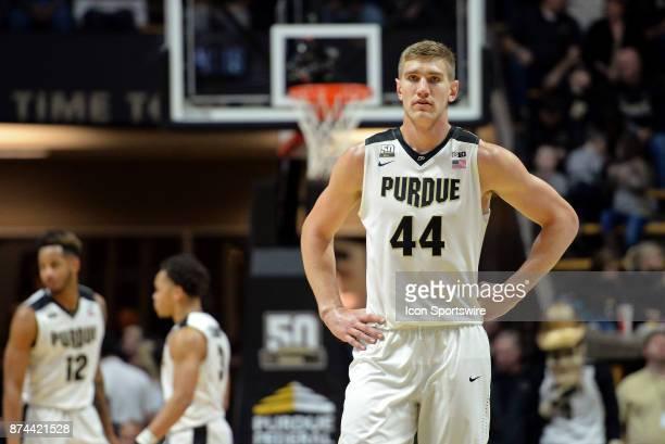 Purdue Boilermakers Center Isaac Haas looks on during the college basketball game between the Chicago State Cougars and the Purdue Boilermakers on...