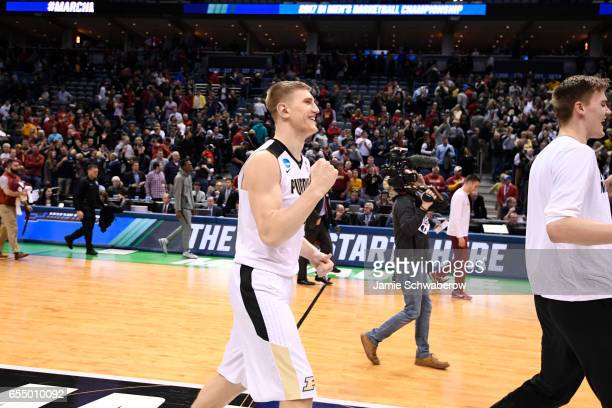 Purdue Boilermakers center Isaac Haas pumps his fist after defeating the Iowa State Cyclones during the 2017 NCAA Men's Basketball Tournament held at...