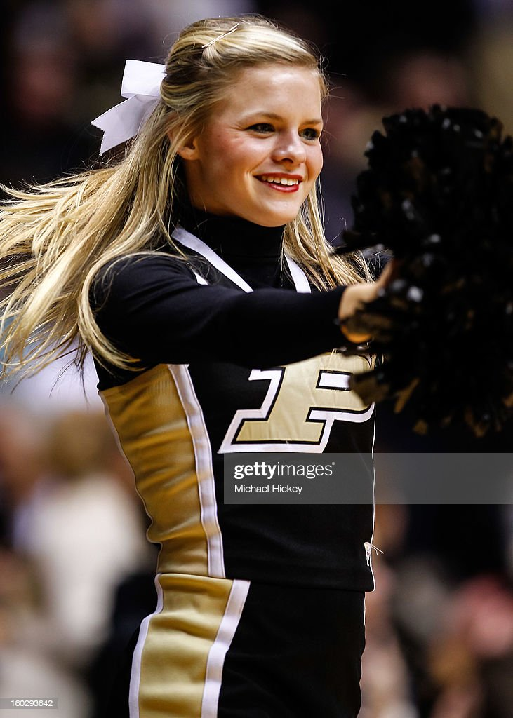 A Purdue Boilermakers cheerleader performs during the game against the Iowa Hawkeyes at Mackey Arena on January 27, 2013 in West Lafayette, Indiana. Purdue defeated Iowa 65-62 in overtime.