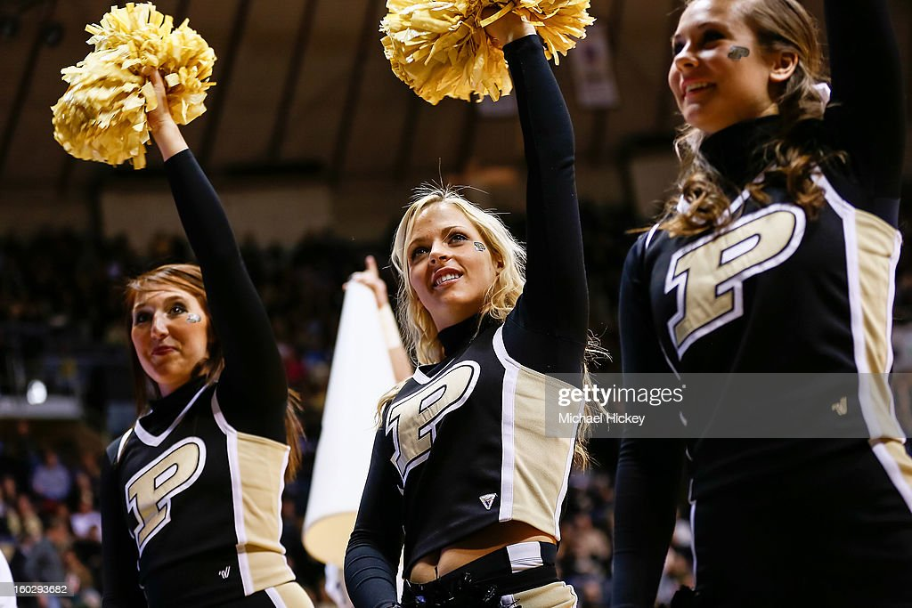 Purdue Boilermakers cheerleaders perform during the game against the Iowa Hawkeyes at Mackey Arena on January 27, 2013 in West Lafayette, Indiana. Purdue defeated Iowa 65-62 in overtime.