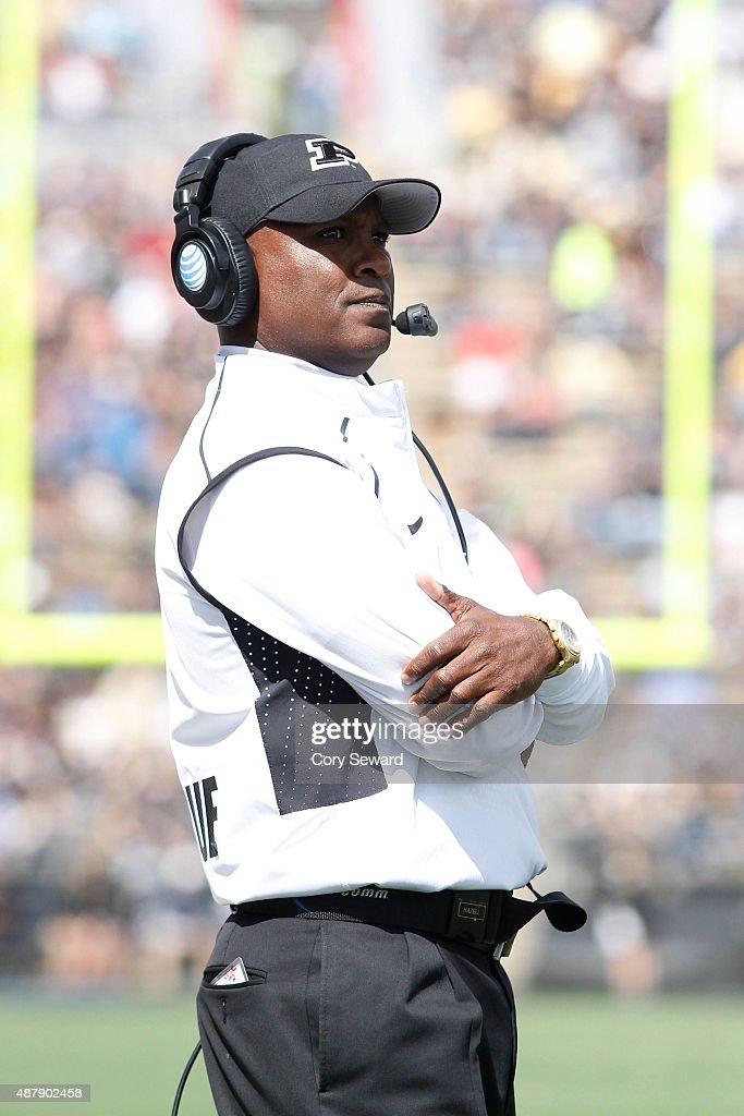 Purdue Boilermakers Head Coach <a gi-track='captionPersonalityLinkClicked' href=/galleries/search?phrase=Darrell+Hazell&family=editorial&specificpeople=7730325 ng-click='$event.stopPropagation()'>Darrell Hazell</a> looks on as a play is under review in the second half against the Indiana State Sycamores at Ross-Ade Stadium on September 12, 2015 in West Lafayette, Indiana.