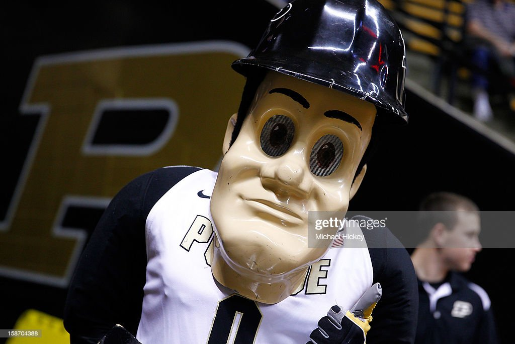 Purdue Boilermakers mascot Purdue Pete is seen on the court at Mackey Arena on December 18, 2012 in West Lafayette, Indiana.
