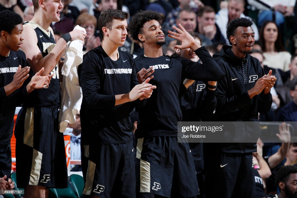 Purdue Boilermakers players react from the bench against the Butler Bulldogs in the second half of the Crossroads Classic at Bankers Life Fieldhouse on December 16, 2017 in Indianapolis, Indiana. Purdue won 82-67.