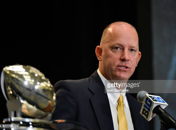 Purdue head coach Jeff Brohm on the podium addressing the media during the Big Ten Media Days on July 25 2017 at Hyatt Regency McCormick Place...