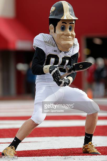 Purdue Pet celebraters a Purdue touchdown during an NCAA football game between the Purdue Boilermakers and the Indiana Hoosiers on November 26 at...