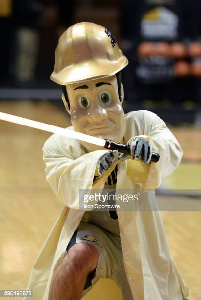 Purdue Pete shows off his lightsaber on Star Wars Night as the IUPUI Jaguars and the Purdue Boilermakers faced off in a college basketball game on...