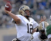 Purdue QB Curtis Painter throws a TD pass in the 3rd quarter in the Purdue win over Michigan State 1715 at Spartan Stadium in East Lansing Michigan...