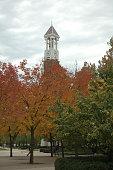 Purdue University Clock Tower amidst fall colors