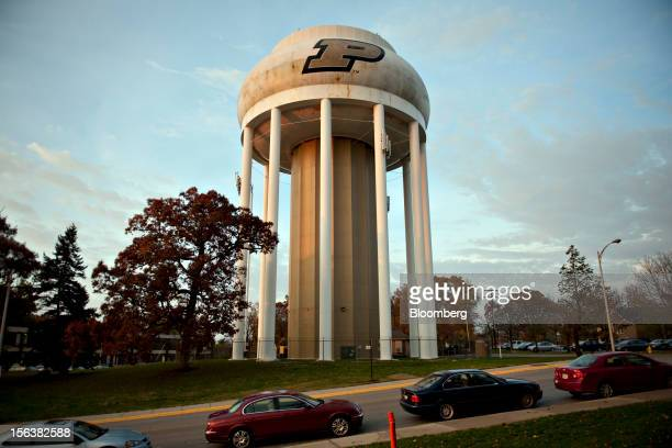 A Purdue University logo appears on a water tower in West Lafayette Indiana US on Monday Oct 22 2012 Administrative costs on college campuses are...