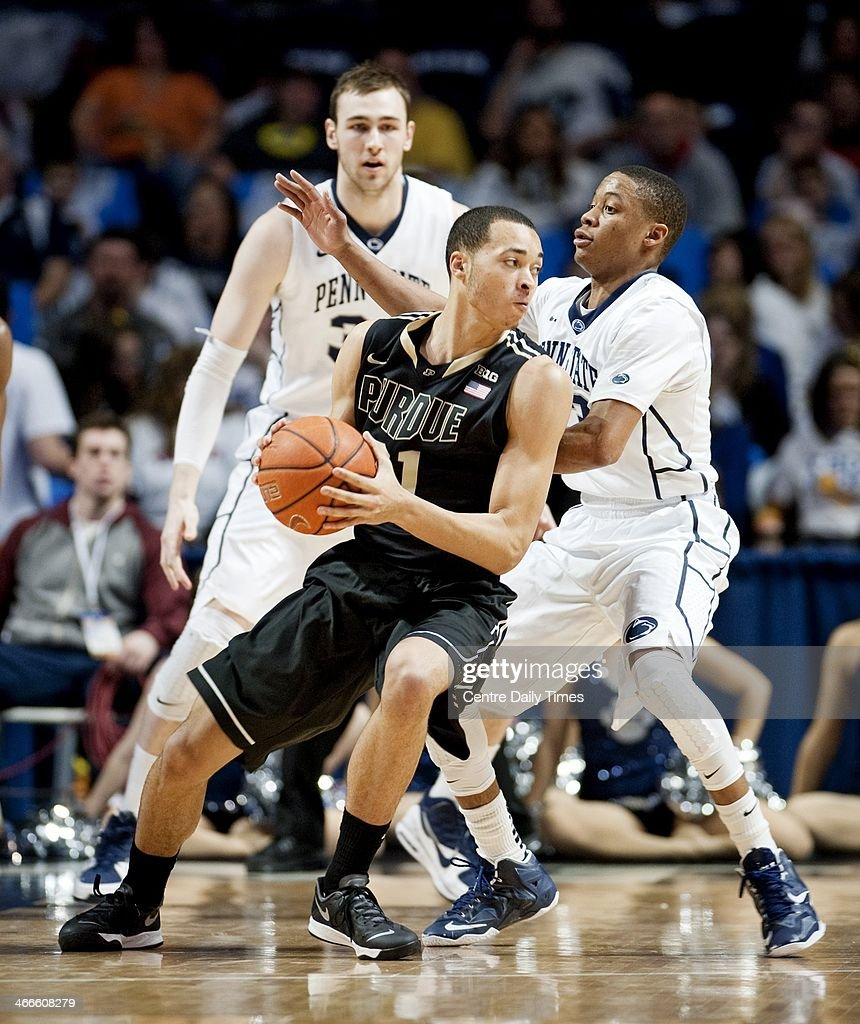 Purdue's Kendall Stephens dribbles around Penn State's Tim Frazier on Sunday, Feb. 2, 2014, at the Bryce Jordan Center in State College, Pa. The Nittany Lions defeated the Boilermakers, 79-68.