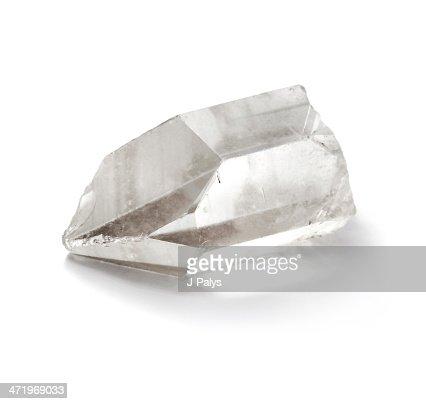 Pure quartz crystal isolated on the white background : Stock Photo