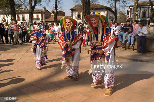 Purepecha Indian dancers on Plaza Vasco de Quiroga.