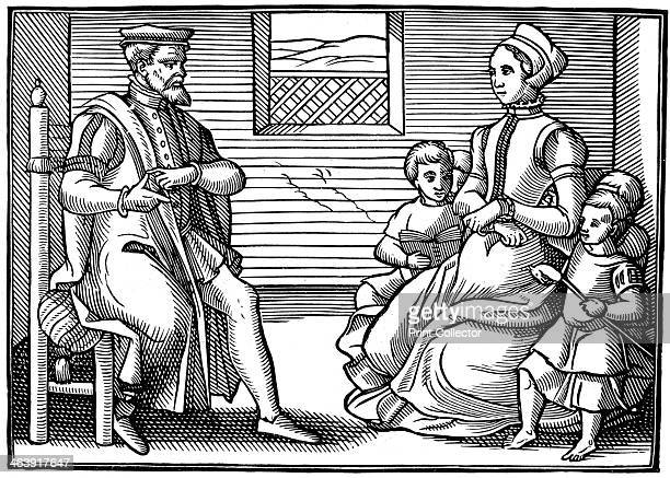 A Puritan Family father teaching his family to sing Psalms rather than vayne and tryflying ballades 1563 From the position of his hands it seems he...